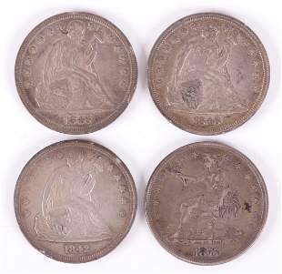 Four US Silver Dollar Coins: Seated Liberty, Trade