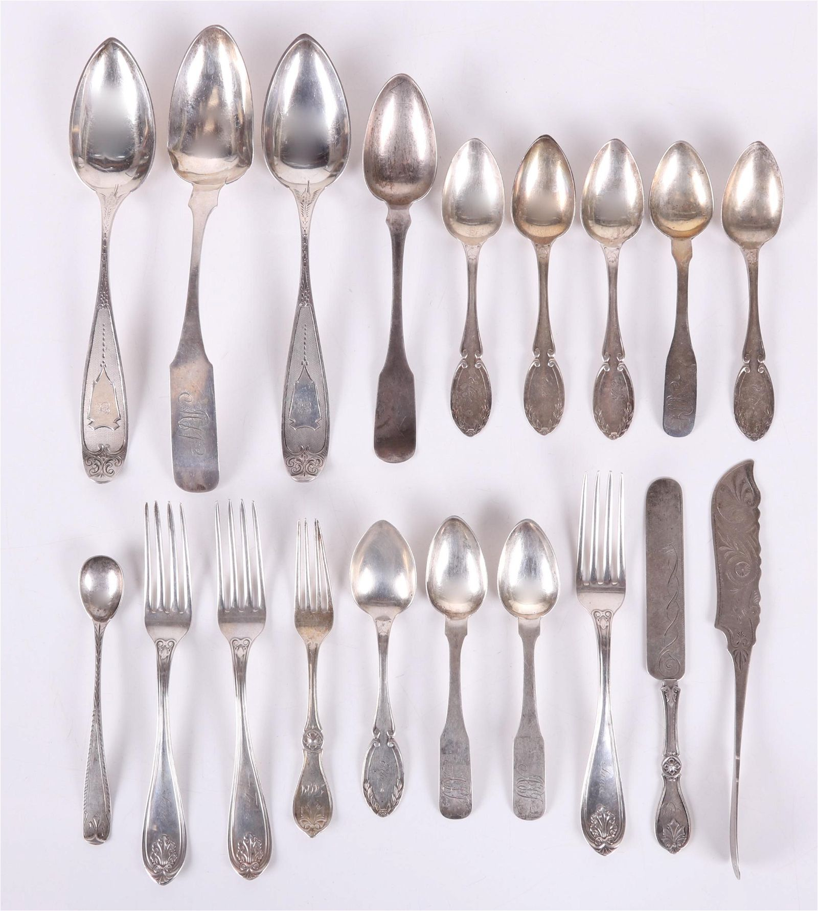 Group of American Coin Silver Flatware