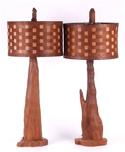Pair of Mid Century Modern Wood Lamps