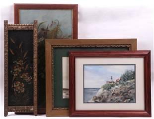 Four Pieces of Art: Watercolors, Oil, Tole