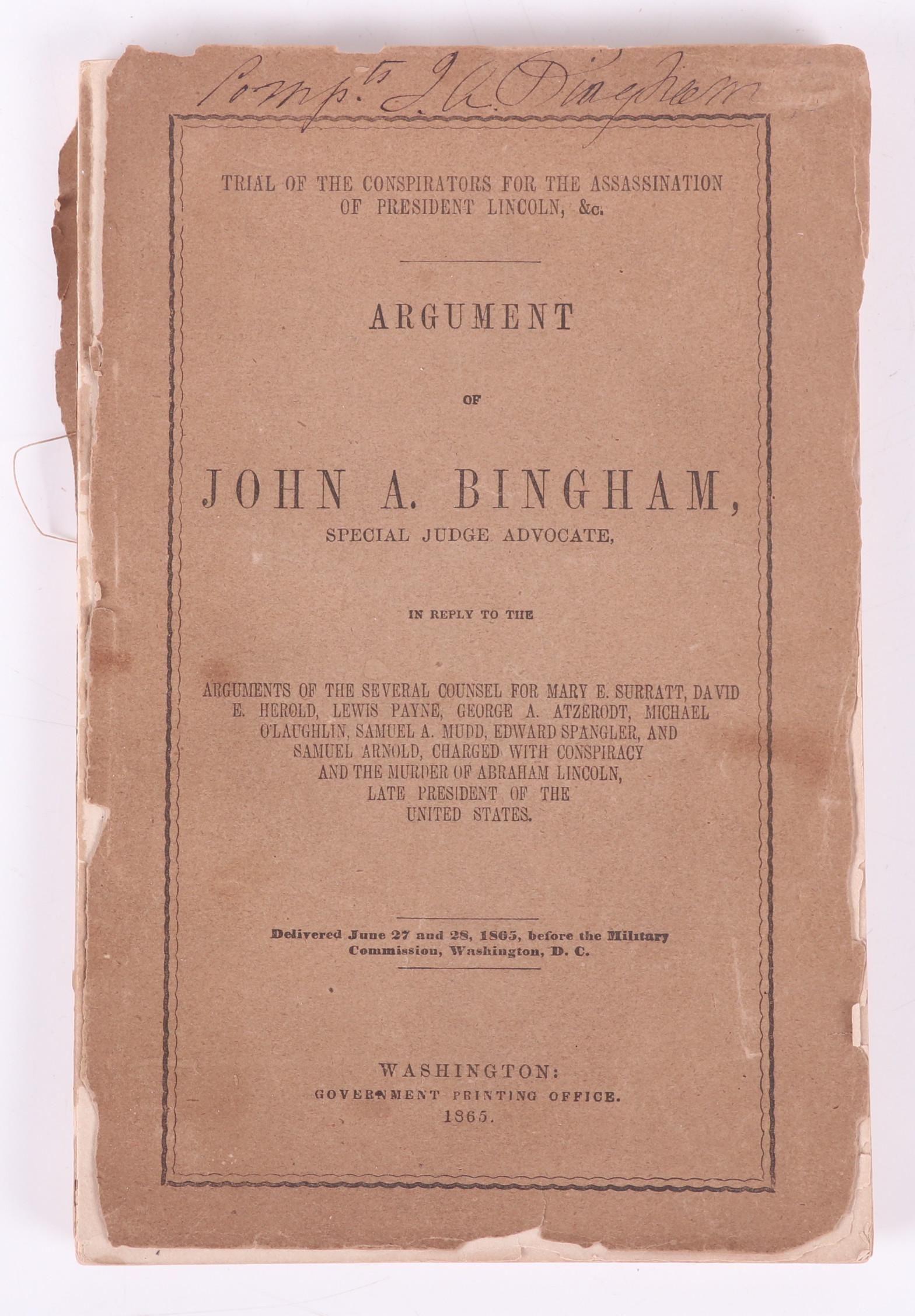 "Book, ""Argument of John A Bingham"", Lincoln Interest"