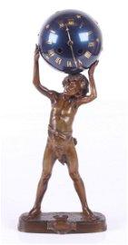 Leon Bureau Bronze Sculpture with Samuel Marti Clock