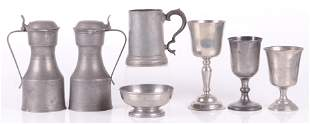 A Group of Pewter Goblets Etc