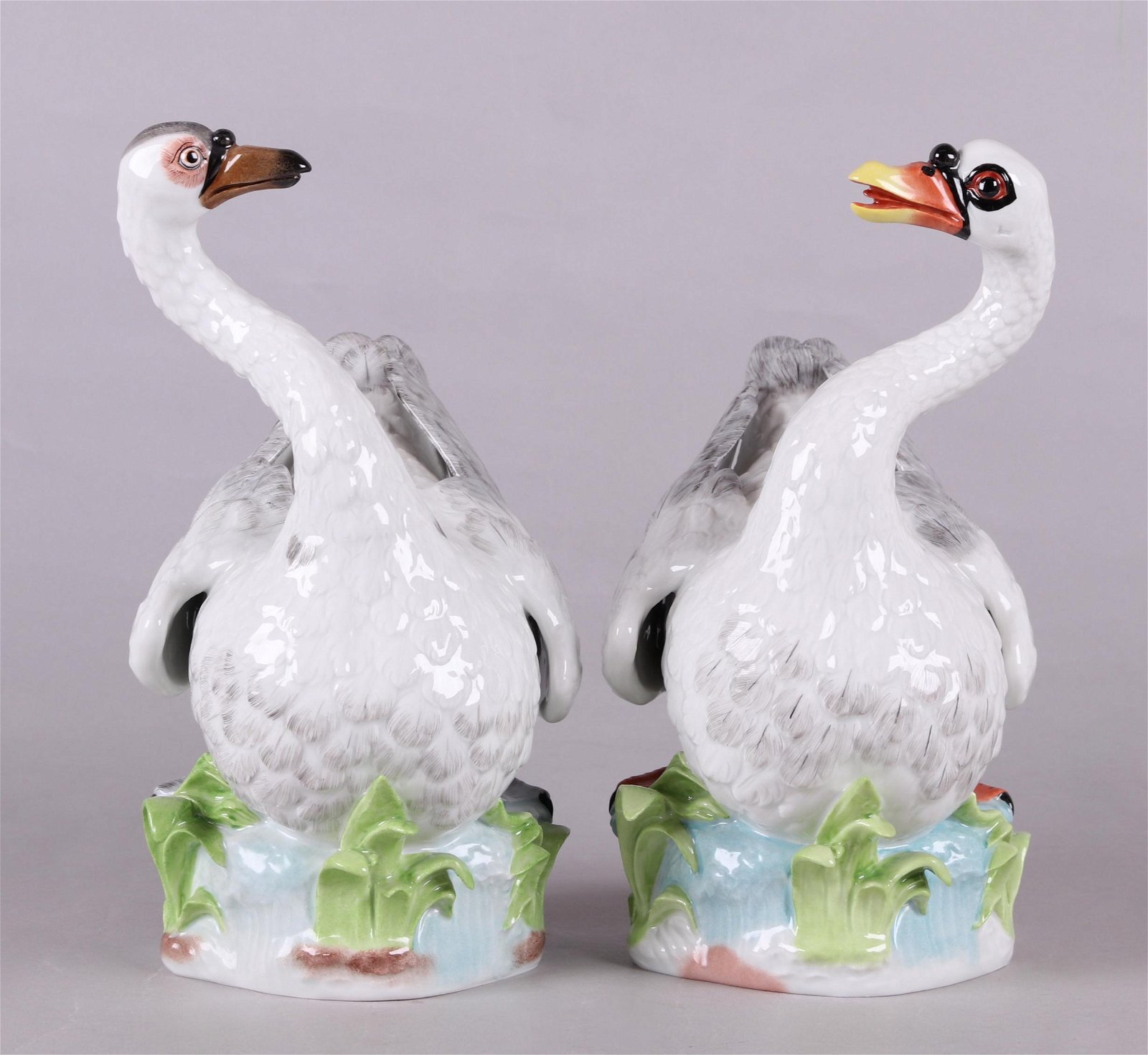 A Pair of Large Porcelain Dresden Swans