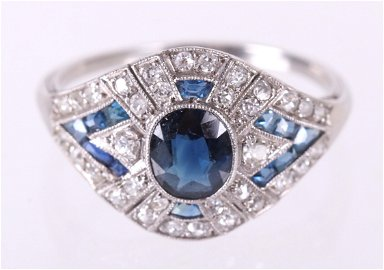 An Art Deco Diamond and Sapphire Cocktail Ring