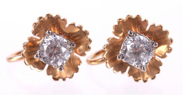 A Pair of 14k Gold and Spinel Earrings