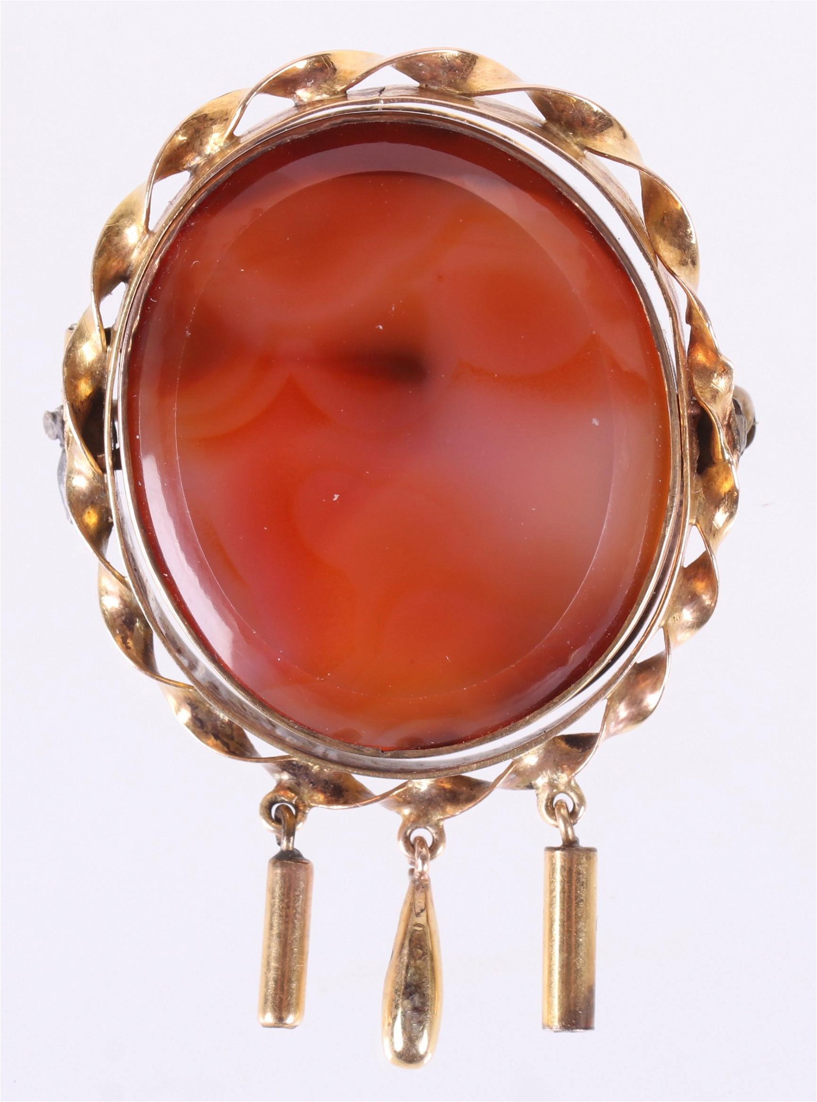 A 19th c. 14k Gold, Agate Mourning Brooch