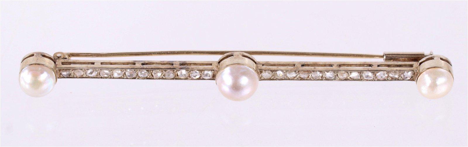 A Gold Bar Pin, Rose Cut Diamonds and Pearls