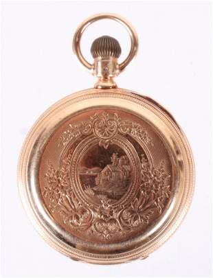 A 14k Gold Pocket Watch by Waltham