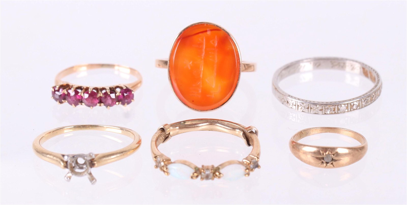 A Group of Estate Gold Rings