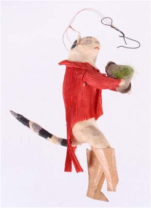 A German Spun Ornament, Cat with Hat