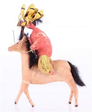 A German Spun Cotton Ornament, Indian on Horseback