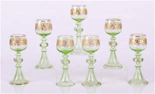 A Set of 7 German Roemers , Vaseline Wine Glasses