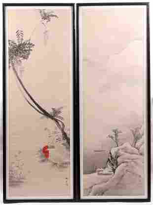 Chinese School (20th Century) Two Watercolors