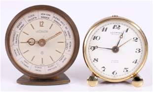 Two Travel Alarm Clocks, Le Coultre and Looping