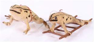 German Christmas Ornaments, Two Frogs