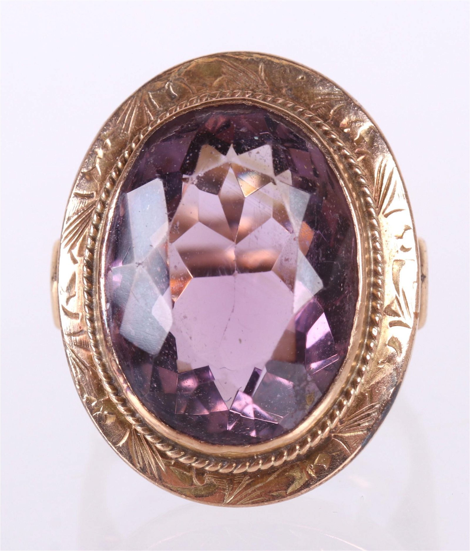 An Amethyst and Gold Cocktail Ring