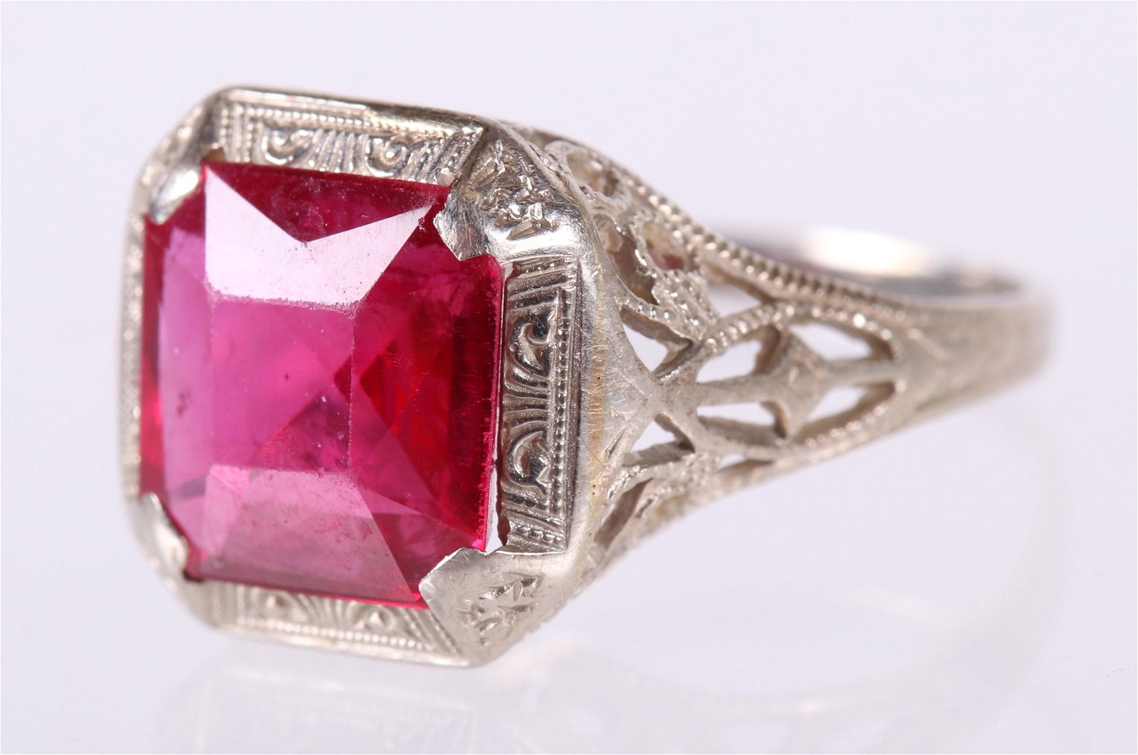 A Filigree 14k Gold and Ruby Ring