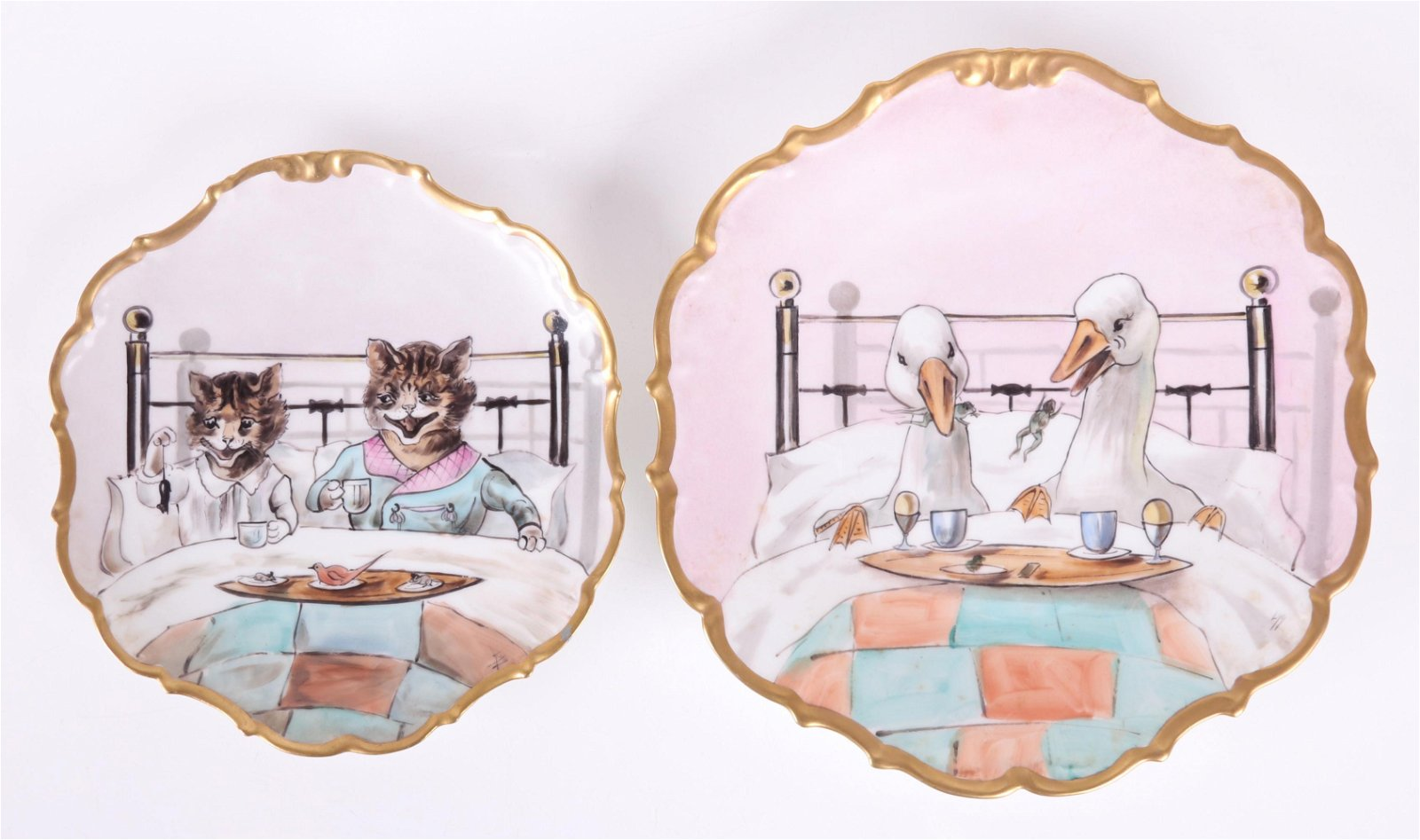 Two Unusual Limoges Plates, Animals in Bed
