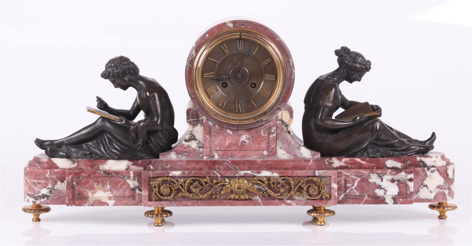 A French Marble and Bronze Mantle Clock