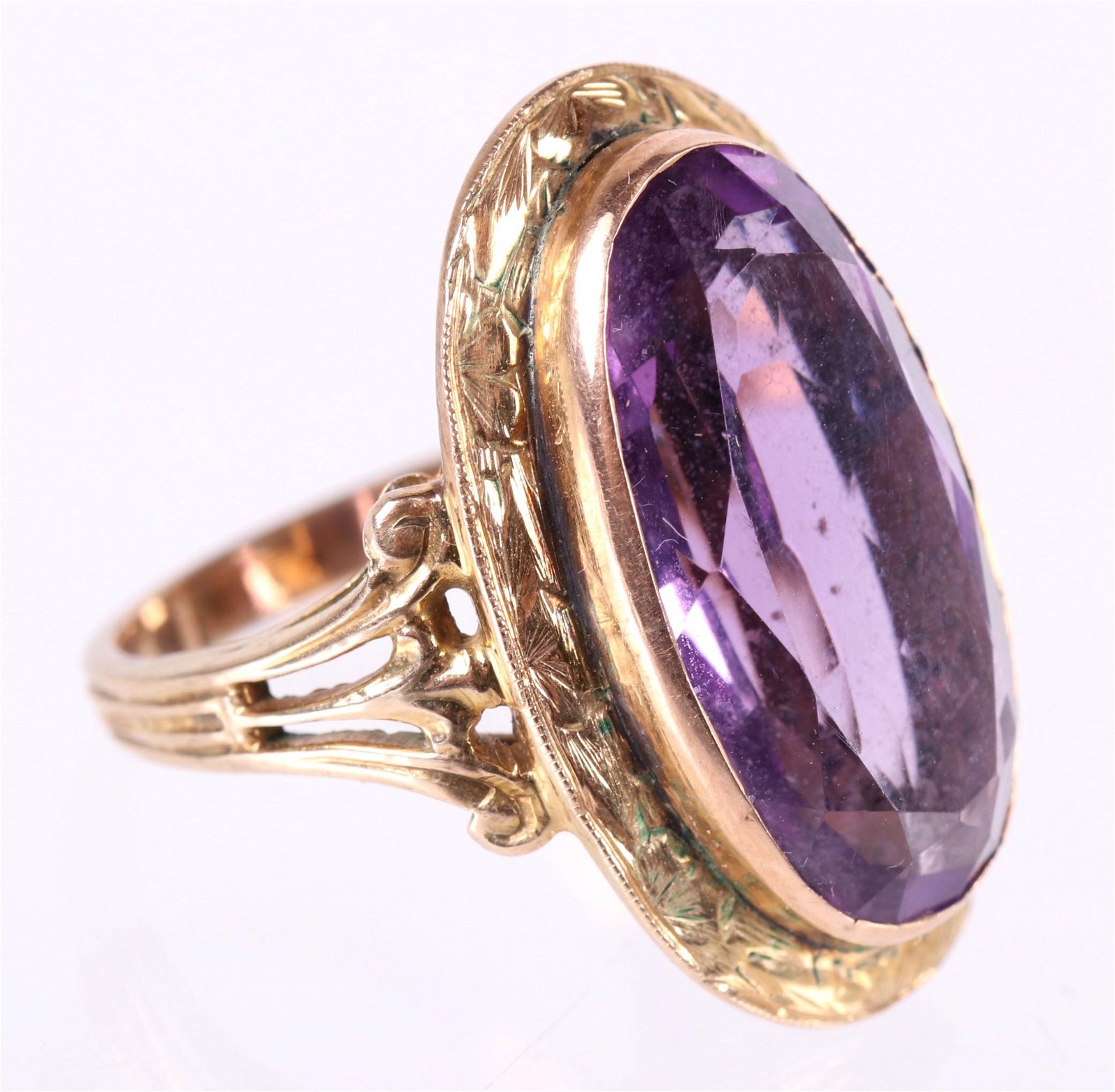 A 14k Gold and Amethyst Cocktail Ring