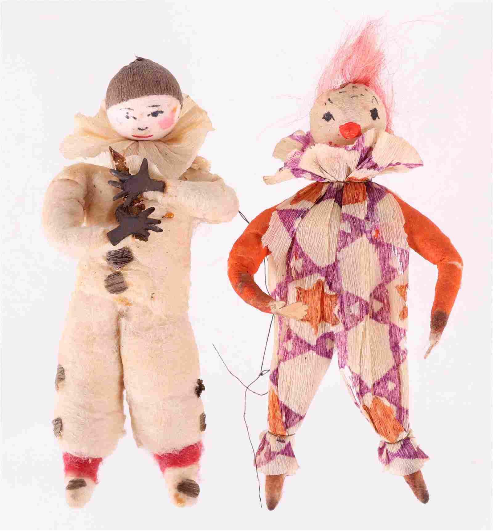 Two German Christmas Ornaments, Clowns