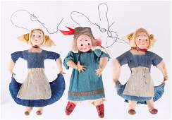 Three German Christmas Ornaments Girls