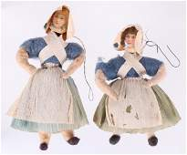 Two German Christmas Ornaments Maidens