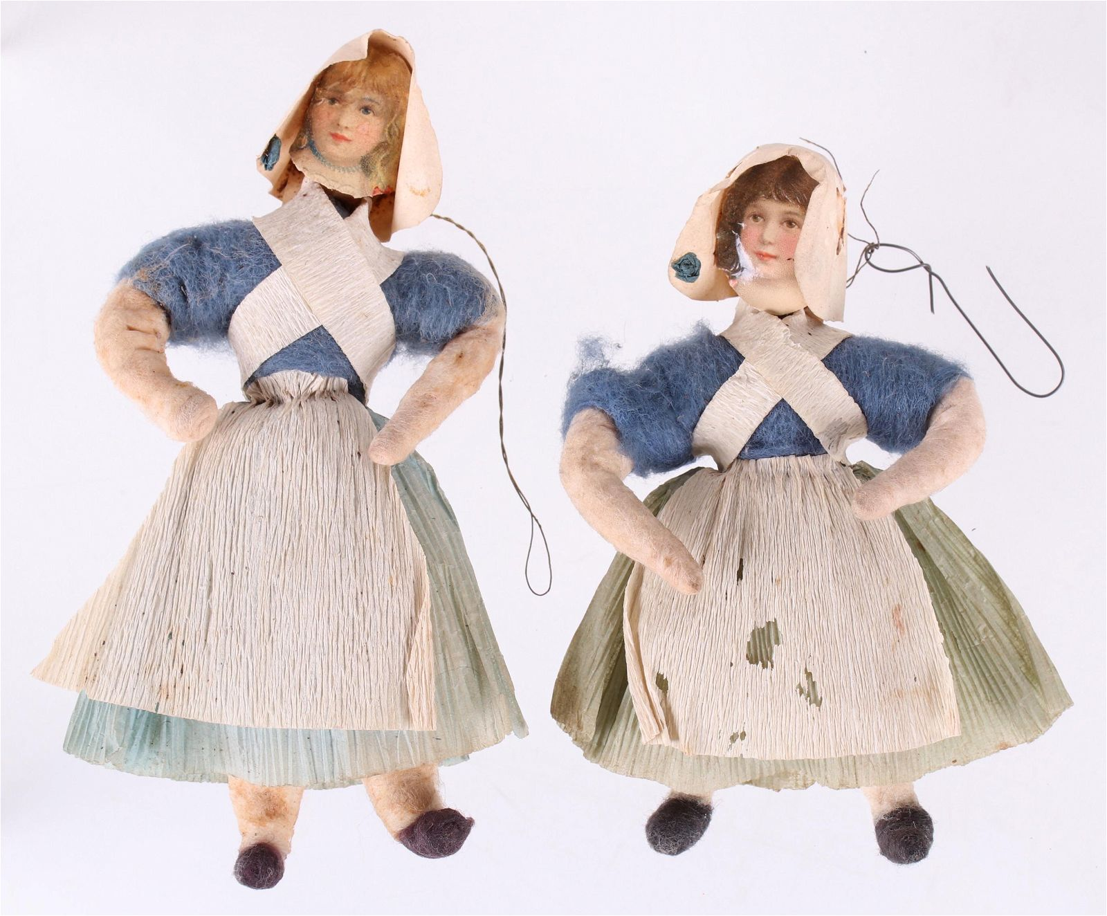 Two German Christmas Ornaments, Maidens