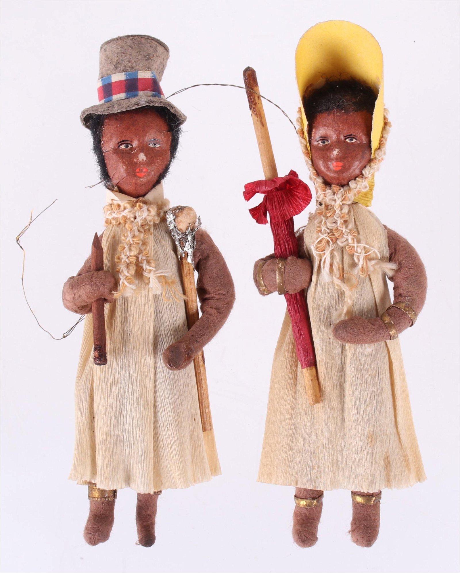 Two German Spun Cotton Christmas Ornaments, Black