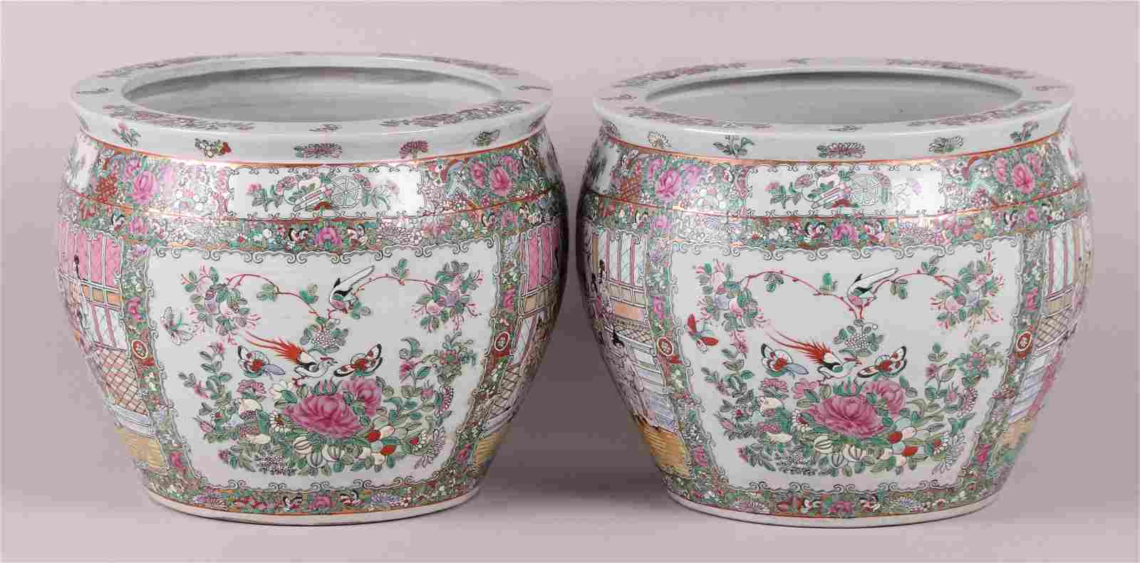 A Pair of Modern Chinese Porcelain Fish Bowls