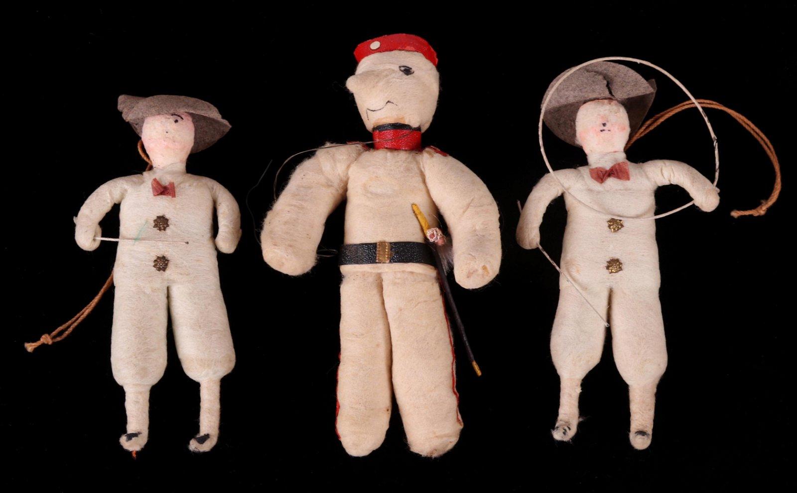 Three German Spun Cotton Christmas Ornaments