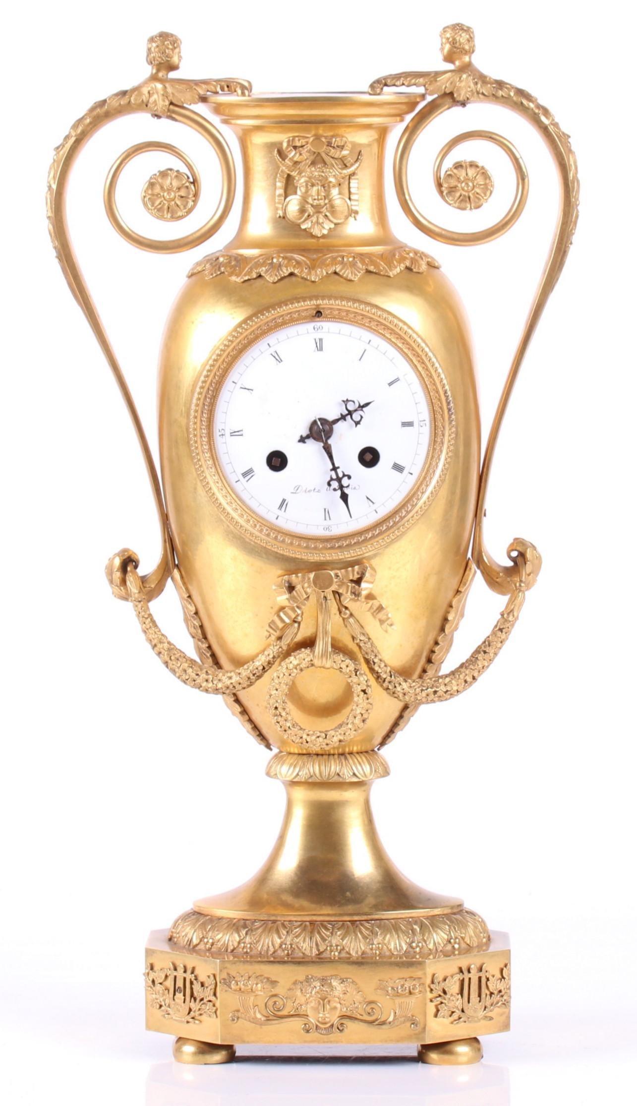French Empire Gilt Bronze Clock