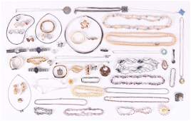 Estate Lot Costume Jewelry with Sterling 14K Gold