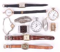 Ten Pocket and Wrist Watches and a Pocket Knife