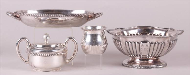 Four Pieces of US Navy Silver Plate Tableware