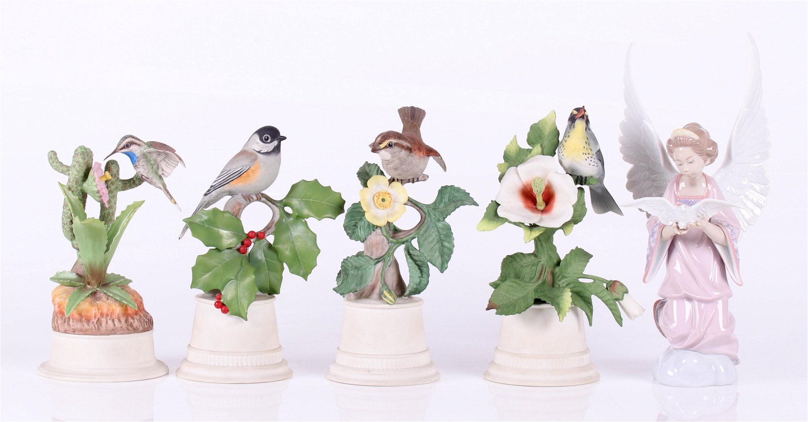 Four Boehm Birds and a Lladro Figurine