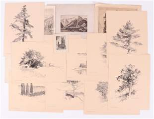 Group of Fifteen Etchings, Prints, and a Sketch