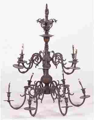 Twelve Light Bronze Chandelier