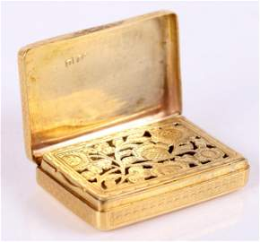 18k Gold George IV Vinaigrette by Charles Rawlings