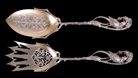 A Fine American Sterling Silver Salad Set