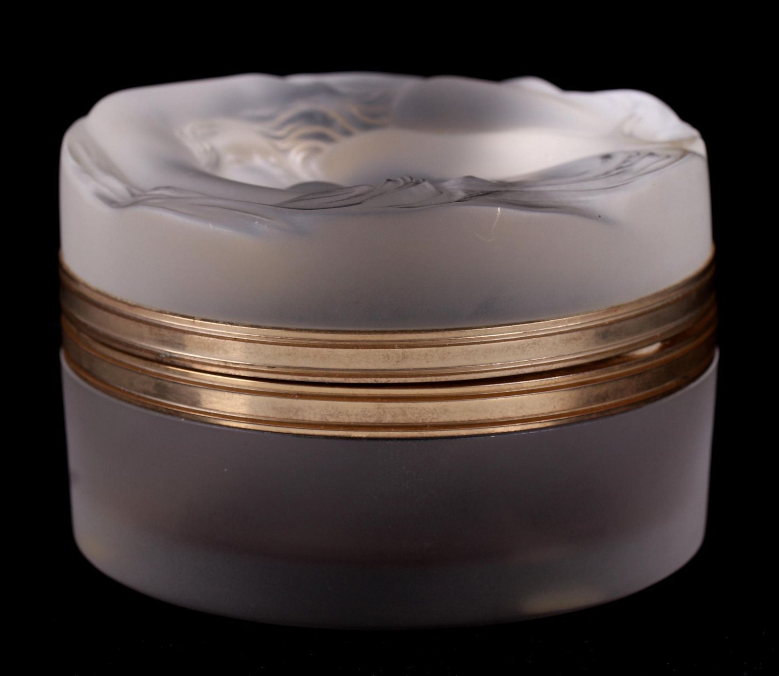 A Lalique Frosted Glass Box, Daphne Pattern