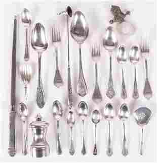 Group of Sterling and Coin Silver Flatware etc