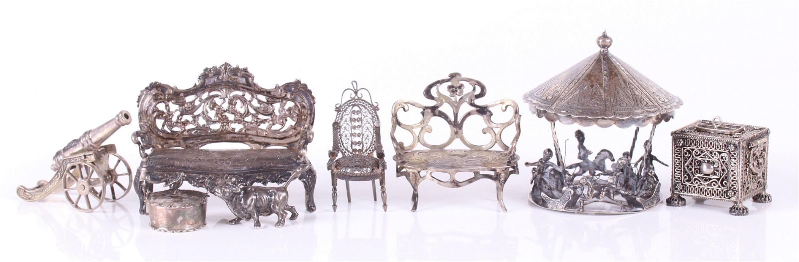 A Group of Miniature Silver Items, Toys
