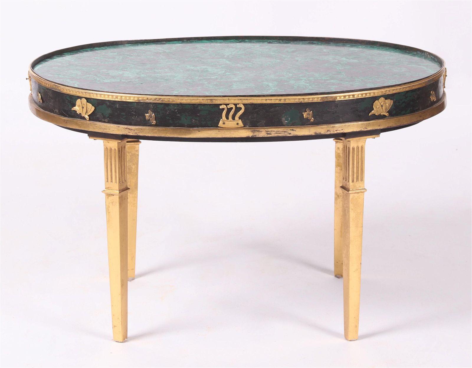 A Continental Malachite and Bronze Table