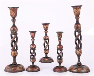 Five Kashmiri Indian Export Candlesticks