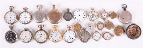 A Group of Pocket Watches and Parts