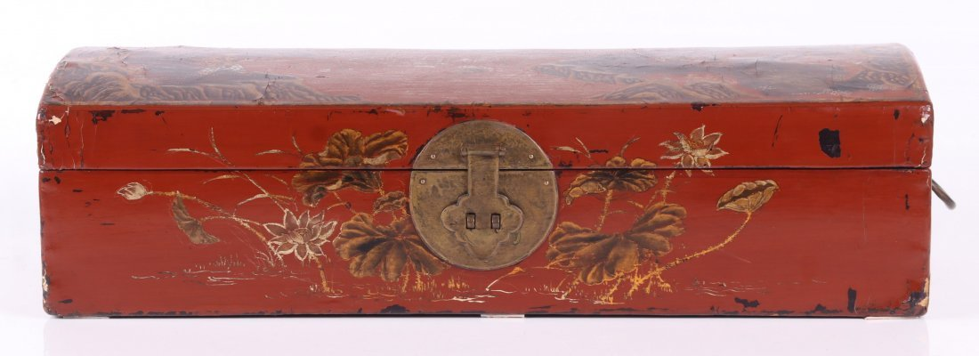 Chinese Lacquered Leather Pillow Box