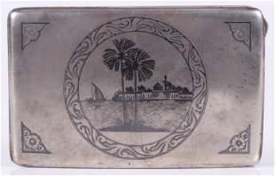An Egyptian Silver Cigarette Case