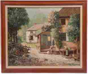 James C Magee (1846 - 1924) O/C Farm Scene